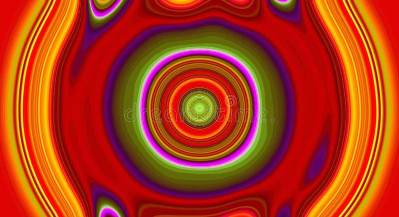 Kleuren het psychedelische symmetrie abstracte patroon en hypnotic achtergrond, gek stock illustratie