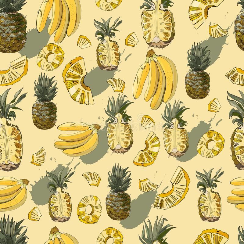 Kleuren naadloos patroon van ananas, banaanvruchten en abstracte vlek Gehele en gesneden die elementen op gele achtergrond worden vector illustratie