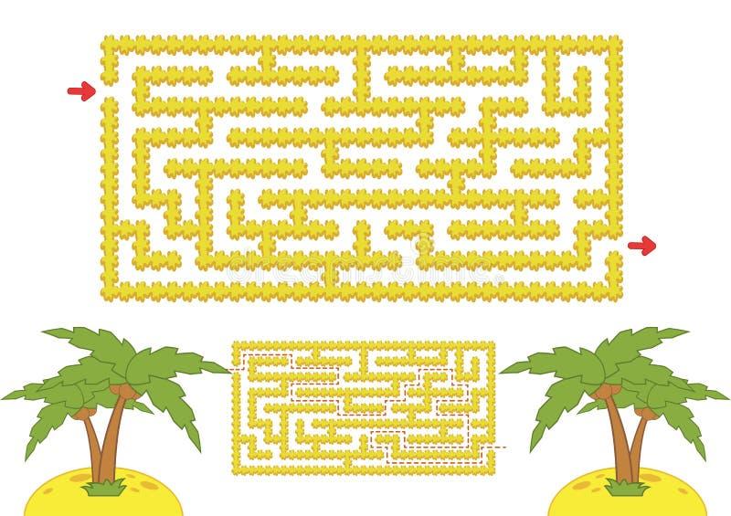 Kleuren rechthoekig labyrint Geel strand met palmen in beeldverhaalstijl Spel voor jonge geitjes Raadsel voor kinderen Labyrintra vector illustratie