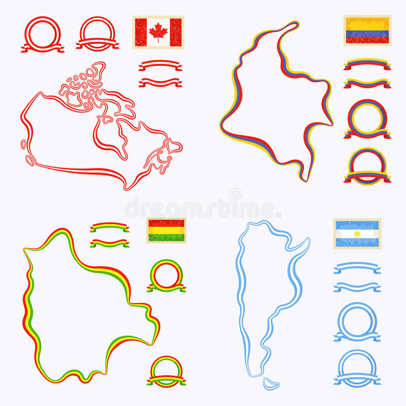 Kleuren van Canada, Colombia, Bolivië en Argentinië royalty-vrije illustratie