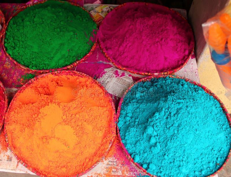 Kleuren van Holi-Festival in India stock afbeeldingen