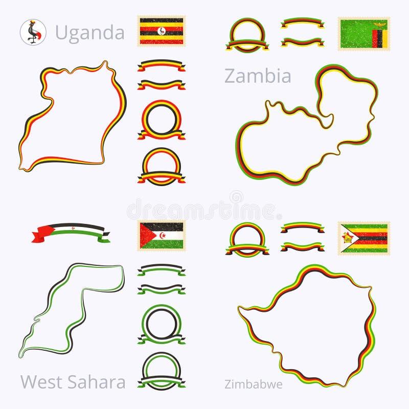 Kleuren van Oeganda, Zambia, de Westelijke Sahara en Zimbabwe vector illustratie