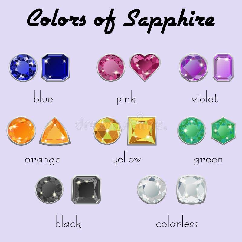 Kleuren van Saffier in verschillende besnoeiingen vector illustratie