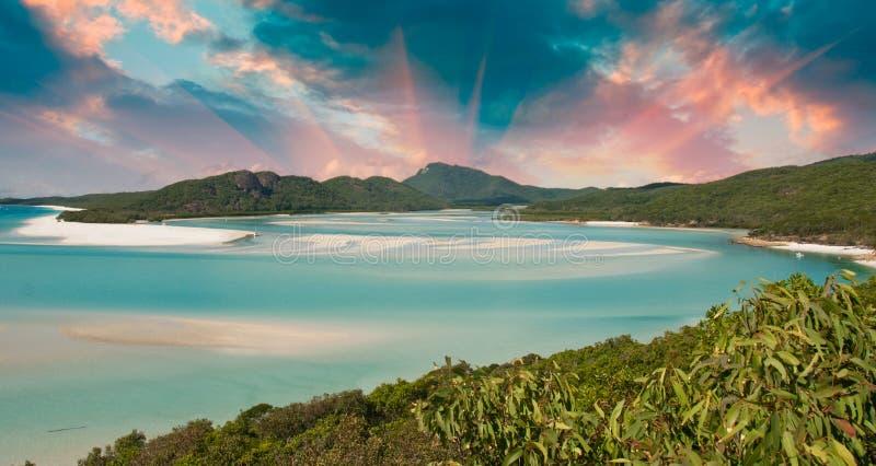 Kleuren van Whitehaven Strand, Australië royalty-vrije stock foto's
