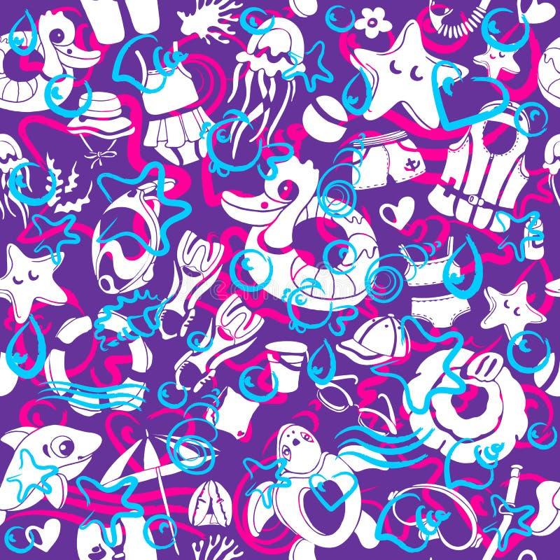 Kleuren vector naadloos patroon Overzees royalty-vrije illustratie