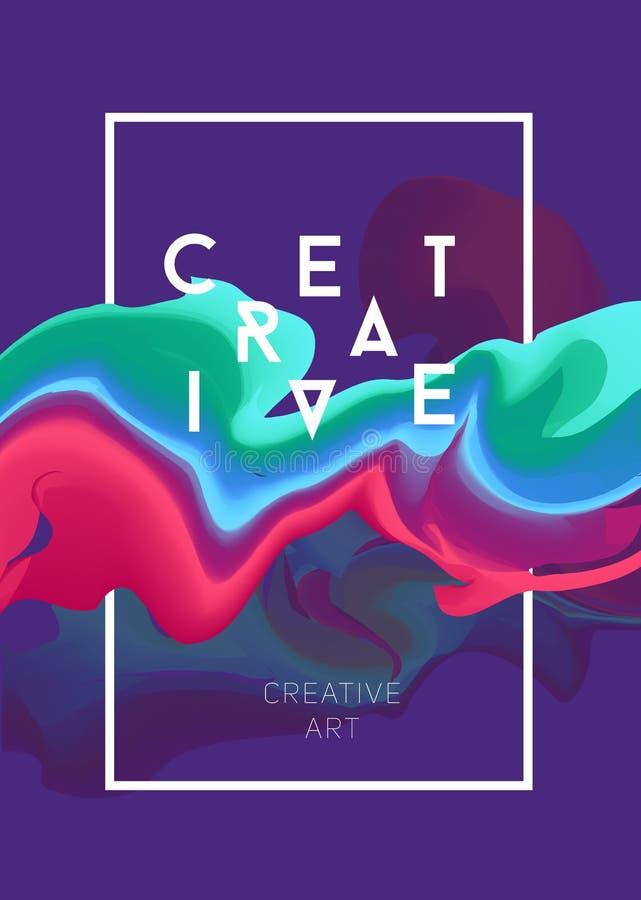 Kleuren vectoraffiche Heldere abstracte inkt voor een verschillend ontwerp stock illustratie