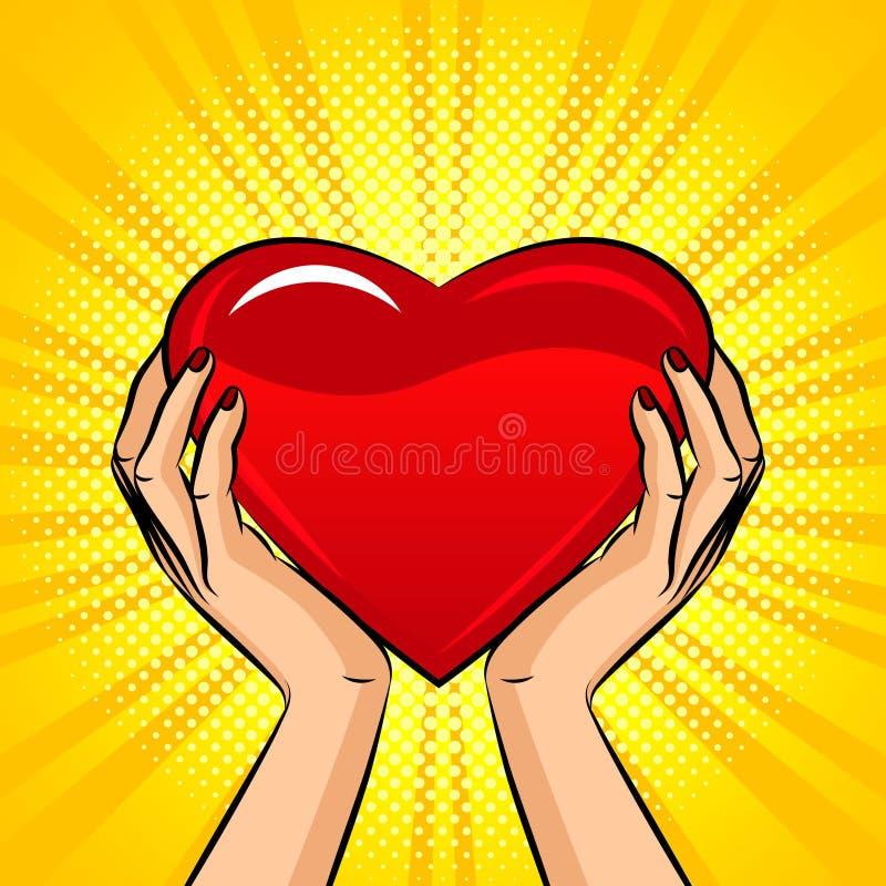 Kleuren vectorillustratie in pop-artstijl De vrouwelijke handen houden een groot hart Ontwerp voor prentbriefkaar op de dag van V royalty-vrije illustratie