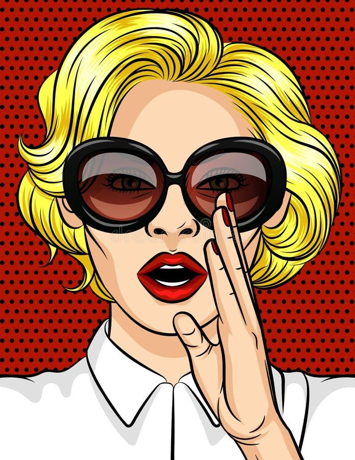 Kleuren vectorillustratie in pop-artstijl Het meisje het blonde in donkere glazen vertelt een geheim Een mooie dame met rood lipp stock illustratie