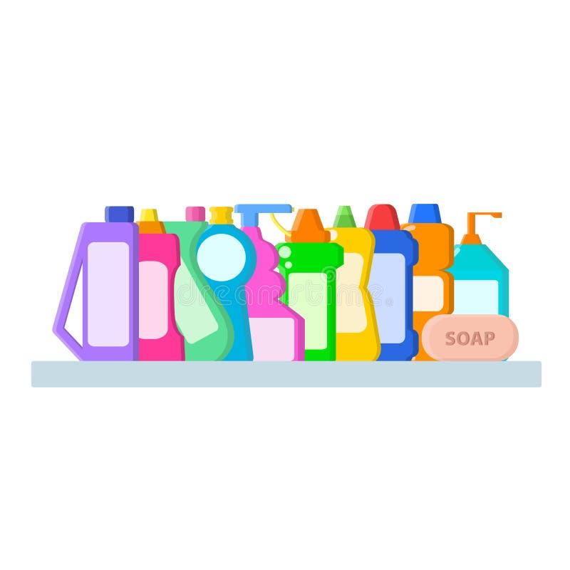 Kleuren verschillende flessen met shampoo, vloeibare zeep en reinigingsmachine in vlakke stijl op badplank op wit, voorraad vecto vector illustratie