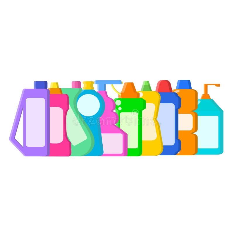 Kleuren verschillende flessen met shampoo, vloeibare zeep en reinigingsmachine in vlakke stijl op wit, voorraad vectorillustratie royalty-vrije illustratie