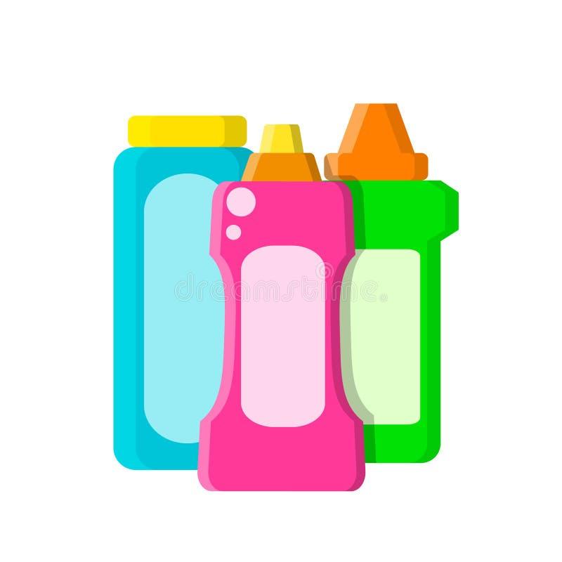 Kleuren verschillende flessen met shampoo, vloeibare zeep en reinigingsmachine in vlakke stijl op wit, voorraad vectorillustratie stock illustratie
