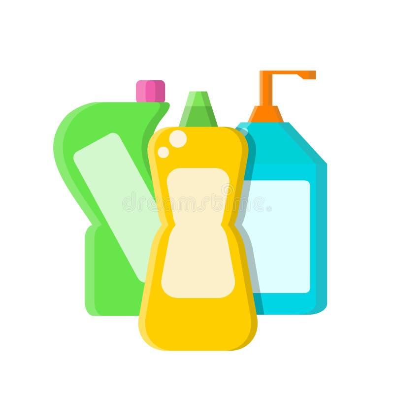 Kleuren verschillende flessen met shampoo, vloeibare zeep en reinigingsmachine in vlakke stijl op wit, voorraad vectorillustratie vector illustratie