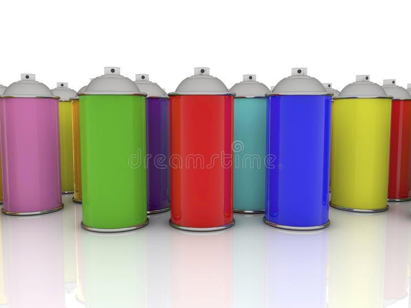 Kleurenaërosols in diverse kleuren royalty-vrije stock fotografie