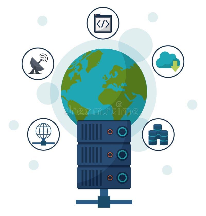 Kleurenachtergrond met aarde rond bol en netwerkserver in close-up en communicatie pictogrammen stock illustratie