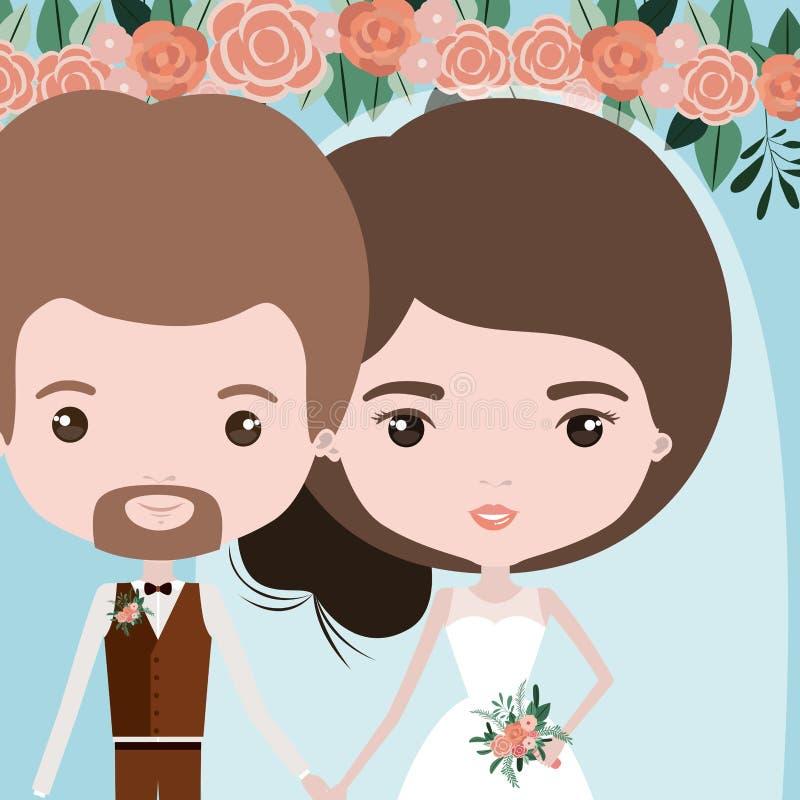 Kleurenachtergrond met half lichaamspaar van enkel de gehuwde gebaarde mens en vrouw met verzameld haar vector illustratie