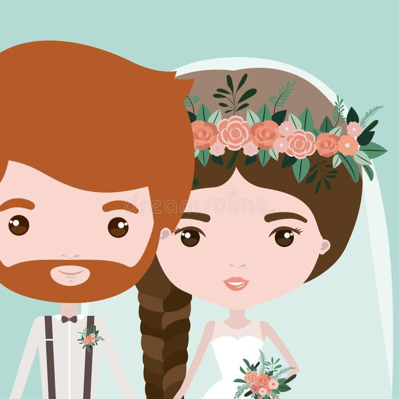 Kleurenachtergrond met half lichaamspaar van enkel de gehuwde gebaarde mens en vrouw met vlechthaar stock illustratie