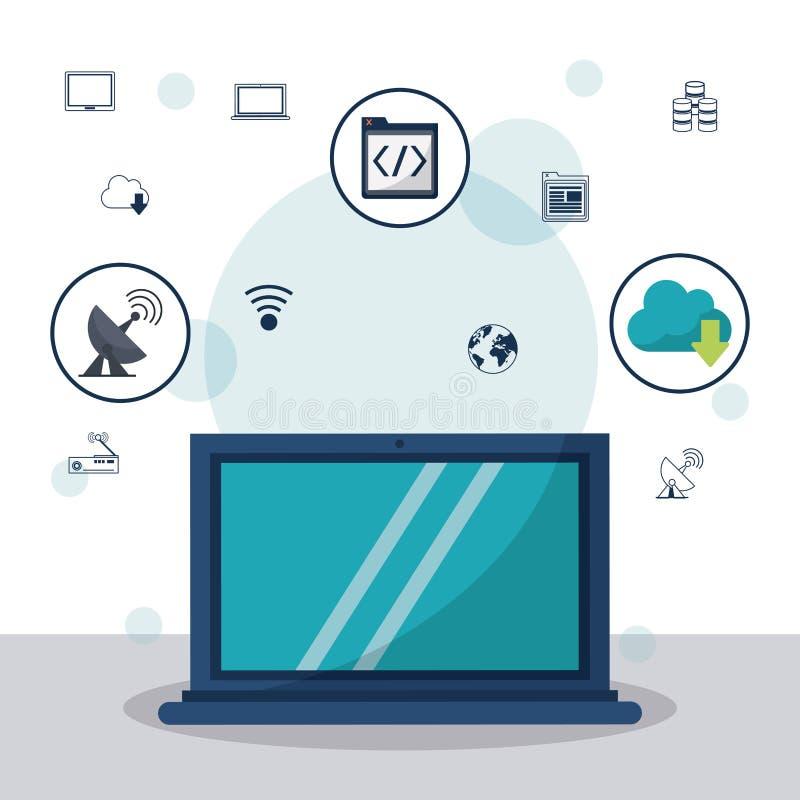 Kleurenachtergrond met laptop computer in close-up en communicatie pictogrammen en voorzien van een netwerkpictogrammen op bovenk stock illustratie
