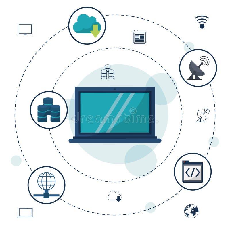 Kleurenachtergrond met laptop rond computer en de verbindingen van het pictogrammennetwerk en mededelingen stock illustratie