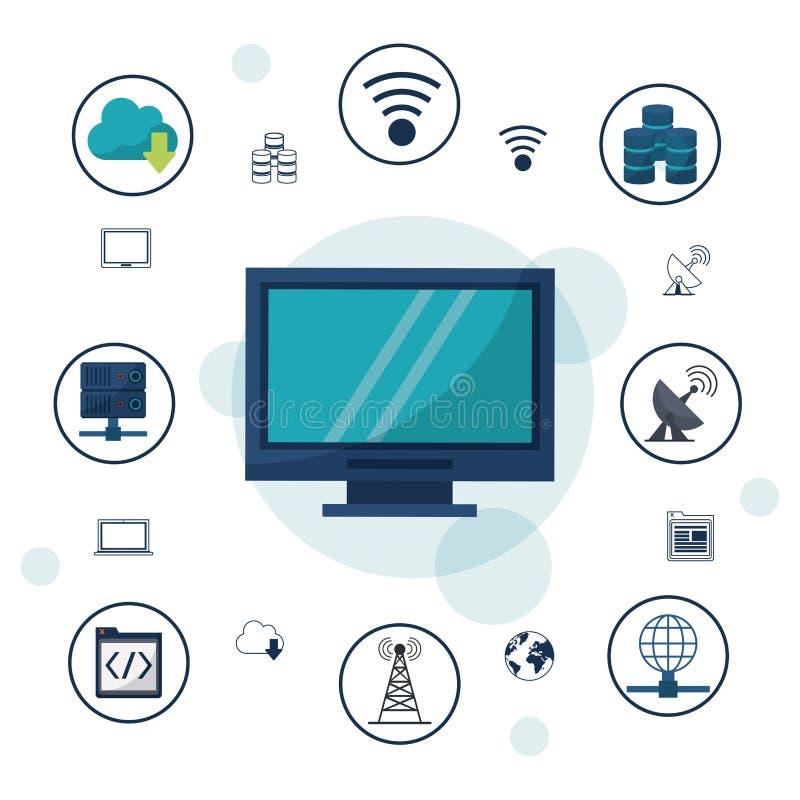 Kleurenachtergrond met rond bureaucomputer en de verbindingen van het pictogrammennetwerk en mededelingen stock illustratie