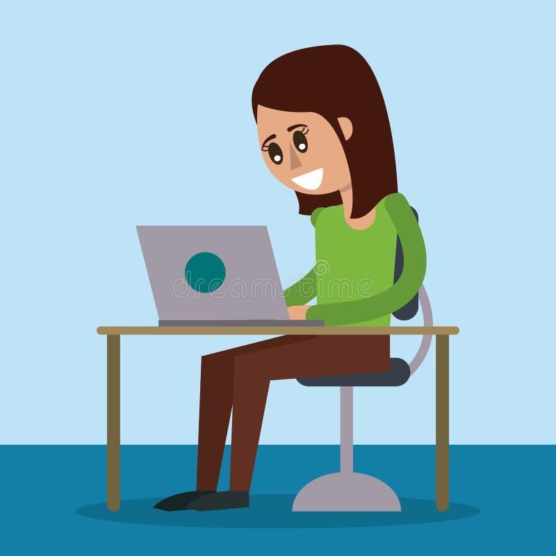 Kleurenachtergrond van bureau met bureaucomputer en vrouwenzitting in zijaanzicht royalty-vrije illustratie