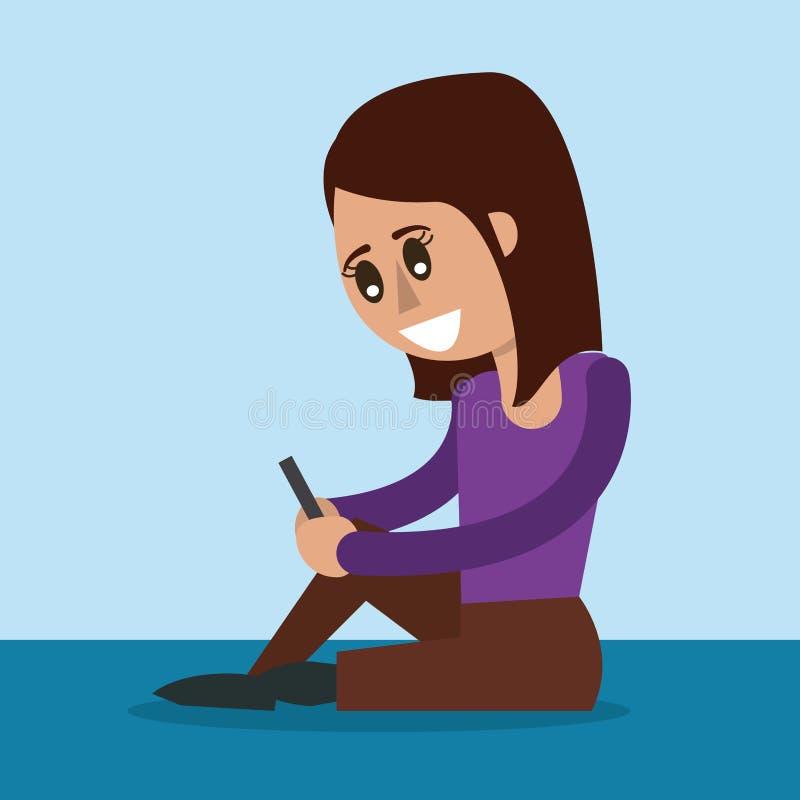 Kleurenachtergrond van vrouwenzitting met smartphone in zijaanzicht stock illustratie