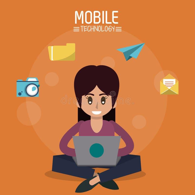 Kleurenaffiche van mobiele technologie met vrouwenzitting met laptop computer en pictogrammen apps op bovenkant vector illustratie