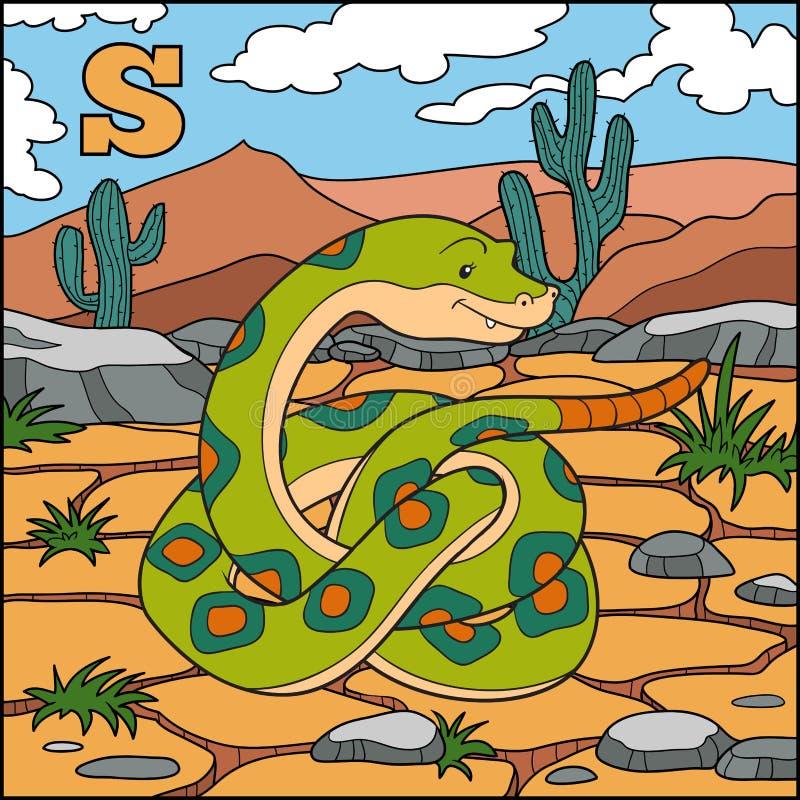 Kleurenalfabet voor kinderen: brief S (slang) vector illustratie