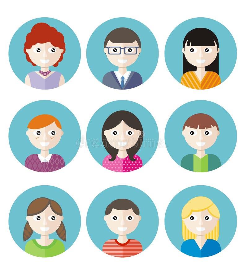Kleurenavatars tieners royalty-vrije illustratie