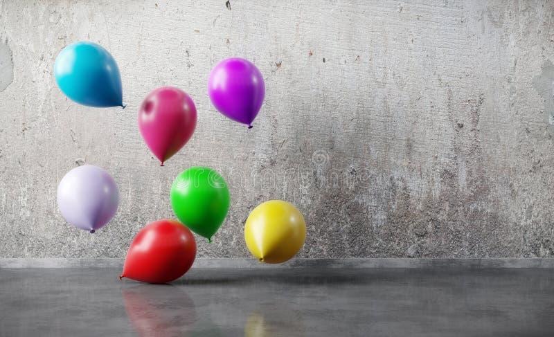 Kleurenballonnen die drijven op de grunge muur royalty-vrije stock foto
