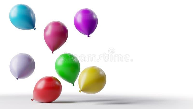 Kleurenballonnen die op witte achtergrond drijven stock foto's