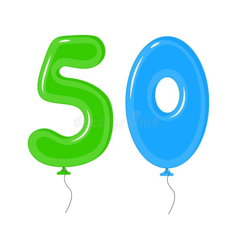 Kleurenballons met Nummer Vijftig Geplaatste Decoratieelementen Vector stock illustratie