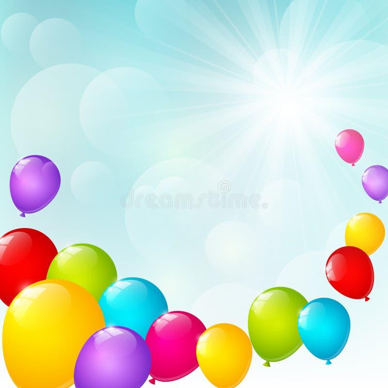 Kleurenballons op zonnige achtergrond royalty-vrije illustratie