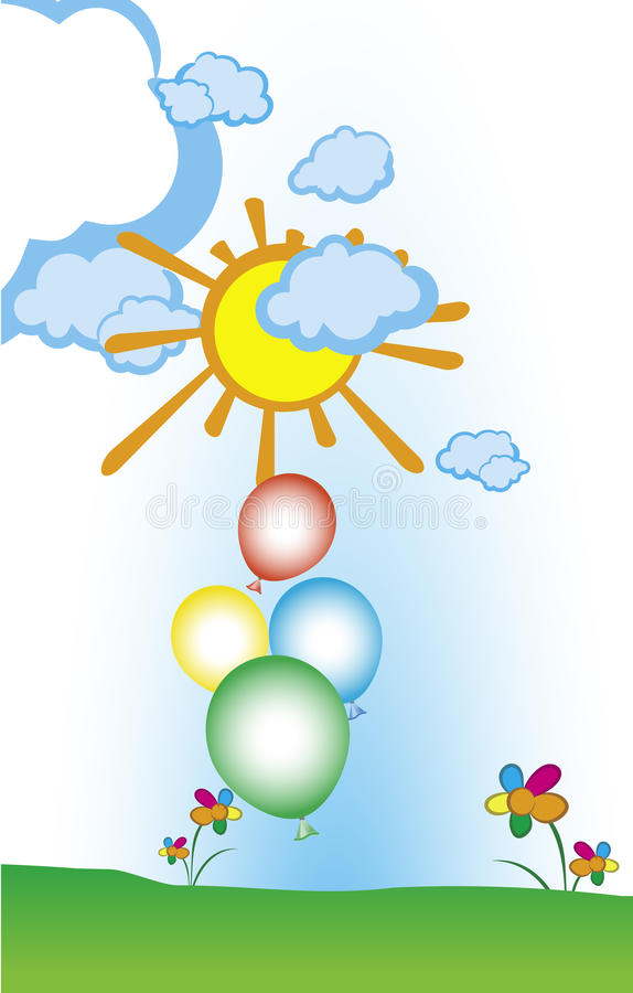 Kleurenballons op zonnige achtergrond stock illustratie