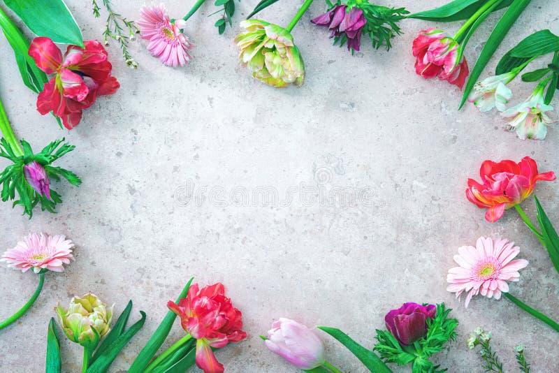 Kleurenbloemen frame stock afbeelding