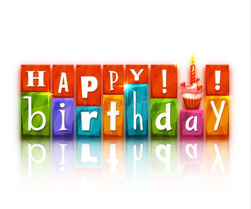 Kleurenblokken met brieven en cake Gelukkige Verjaardag stock illustratie