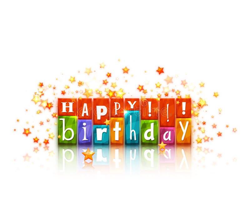 Kleurenblokken met brieven Gelukkige Verjaardag royalty-vrije illustratie