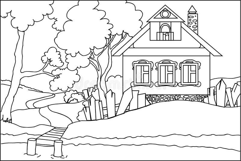 Kleurenboek - het oude huis bij de rivier royalty-vrije stock foto