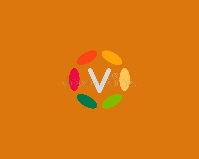 Kleurenbrief V het vectorontwerp van het embleempictogram Hubkader logotype vector illustratie