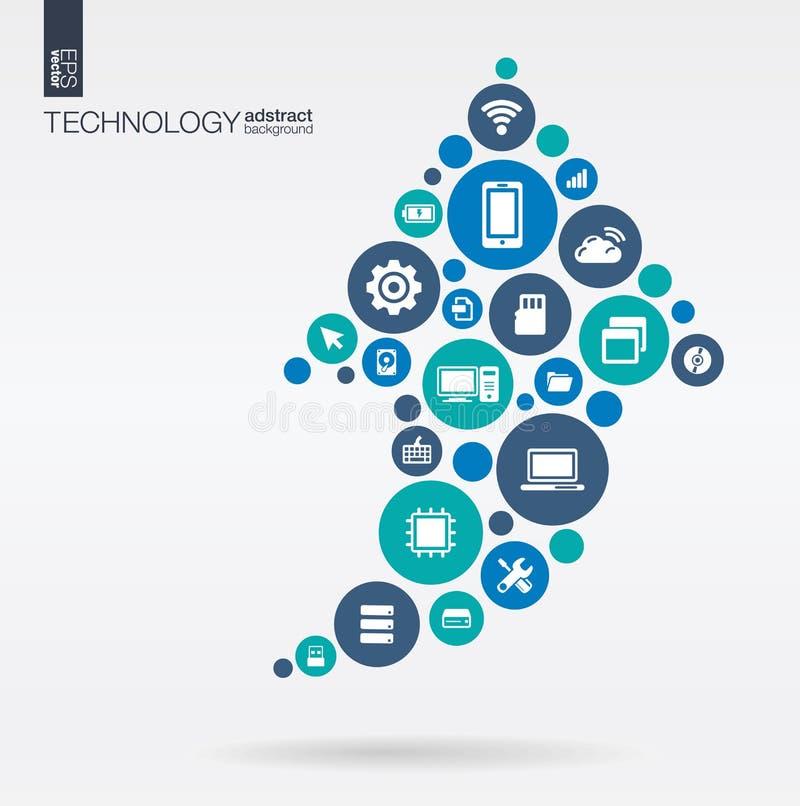 Kleurencirkels, vlakke pictogrammen in pijl op vorm: technologie, wolk die, digitaal concept gegevens verwerken royalty-vrije illustratie