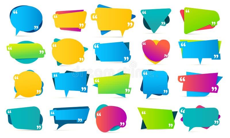 Kleurencitaat in citaten De citaatkaders, de vermeldingsopmerkingen en de kleurrijke bel vermelden de vectorreeks van het bericht stock illustratie