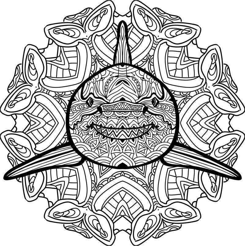 Kleurend antistressboek De roofzuchtige haai wordt getrokken met de hand met inkt vector illustratie