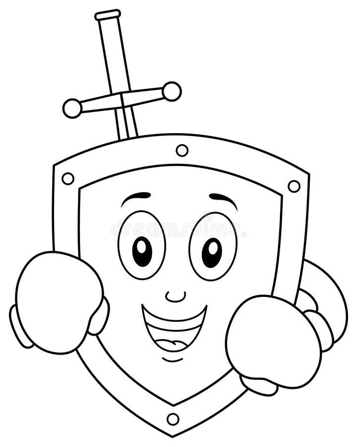 Kleurend Antivirus Schild met Bokshandschoenen vector illustratie