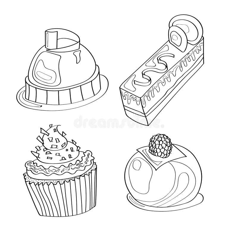 Kleurend beeld, kleurende pagina met cupcakes, desserts, snoepjes en mousse stock afbeelding
