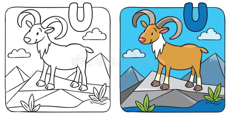 Kleurend beeld van grappige urial U van het alfabet stock illustratie