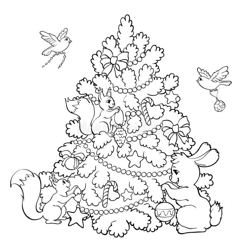 Kleurend boek De beeldverhaaldieren verfraaien de Kerstboom royalty-vrije illustratie