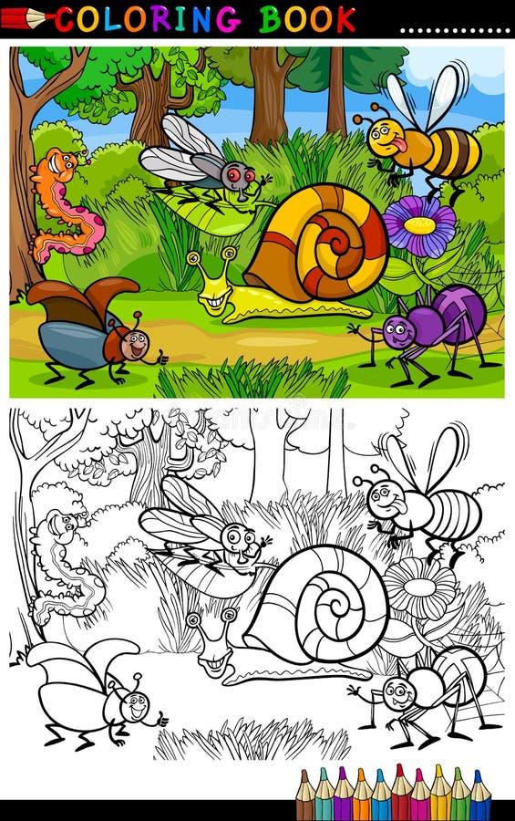 De insecten of de insecten van het beeldverhaal voor het kleuren van boek stock illustratie