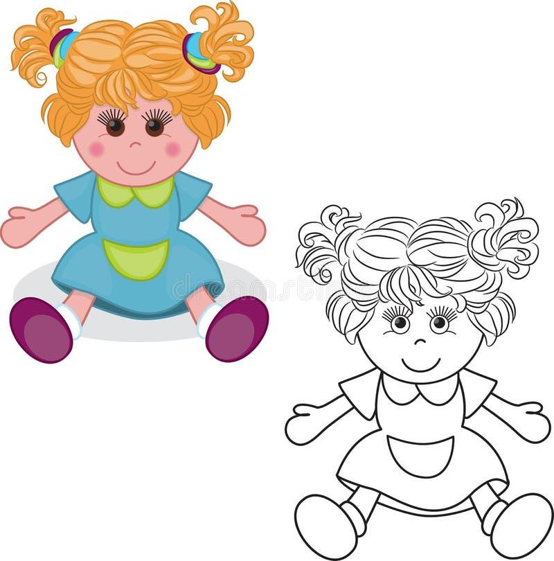 Kleurend boek Het stuk speelgoed van de meisjespop royalty-vrije illustratie