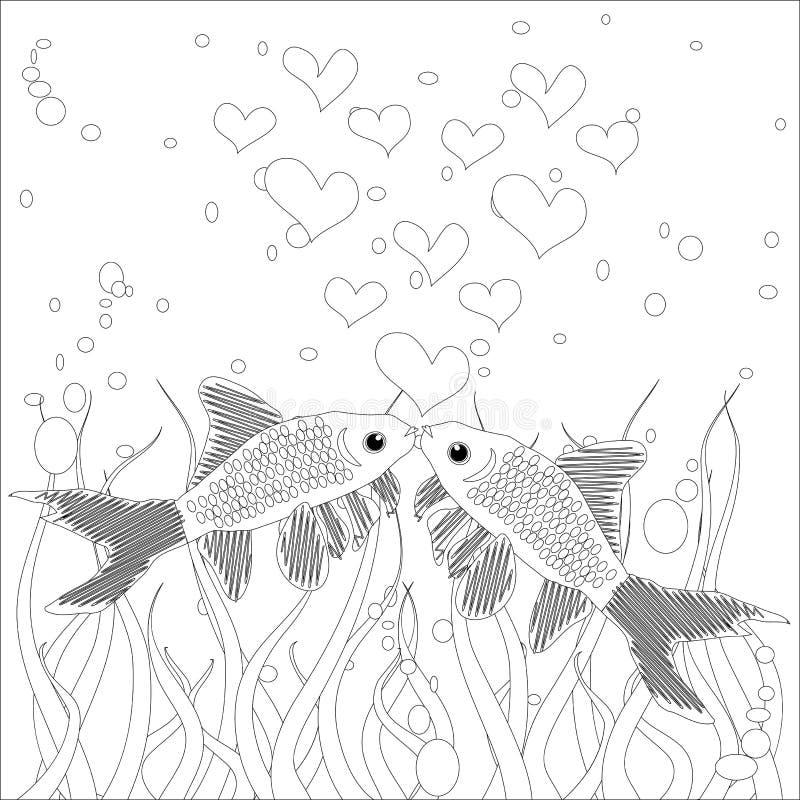 Kleurend boek Kleuringsbeeld met inzameling van tropische vissen Antistressschetstekening uit de vrije hand met krabbel en zentan vector illustratie