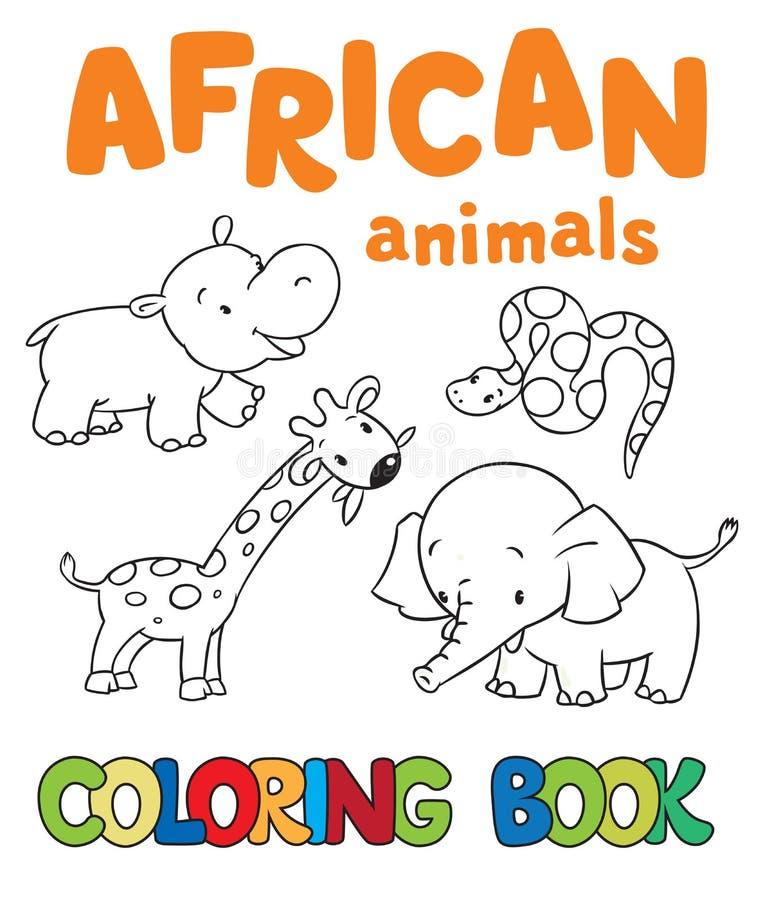 Kleurend boek met Afrikaanse dieren stock illustratie