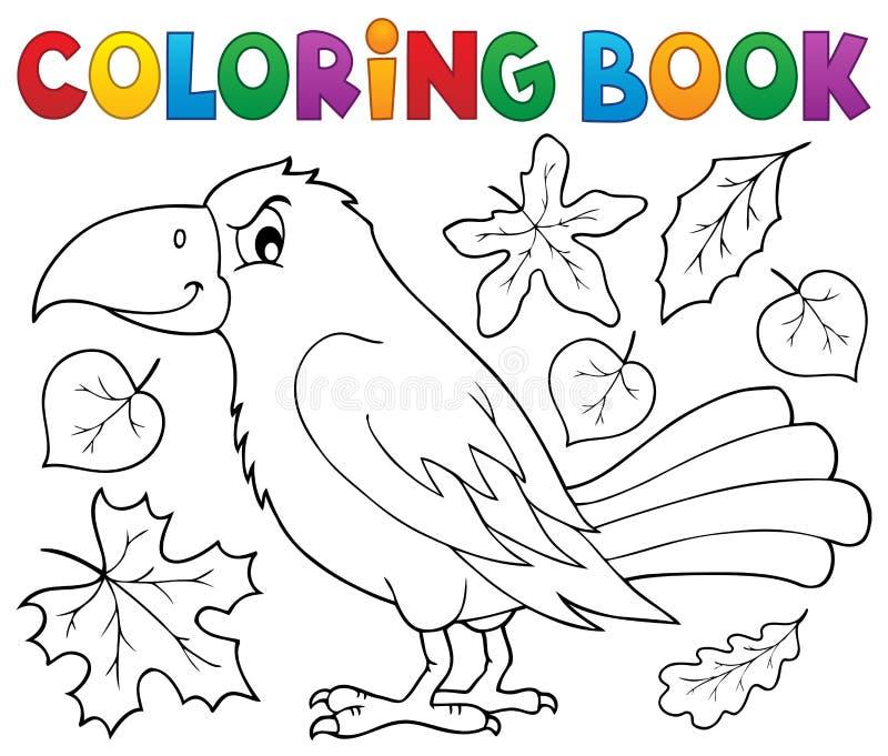 Kleurend boek met kraai en bladeren stock illustratie